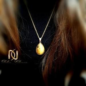 گردنبند سنگ چشم ببر با زنجیر استیل طلایی nw-n177 از نمای روبرو