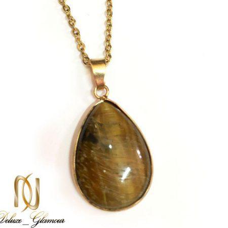 گردنبند سنگ چشم ببر با زنجیر استیل طلایی nw-n177 از نمای نزدیک