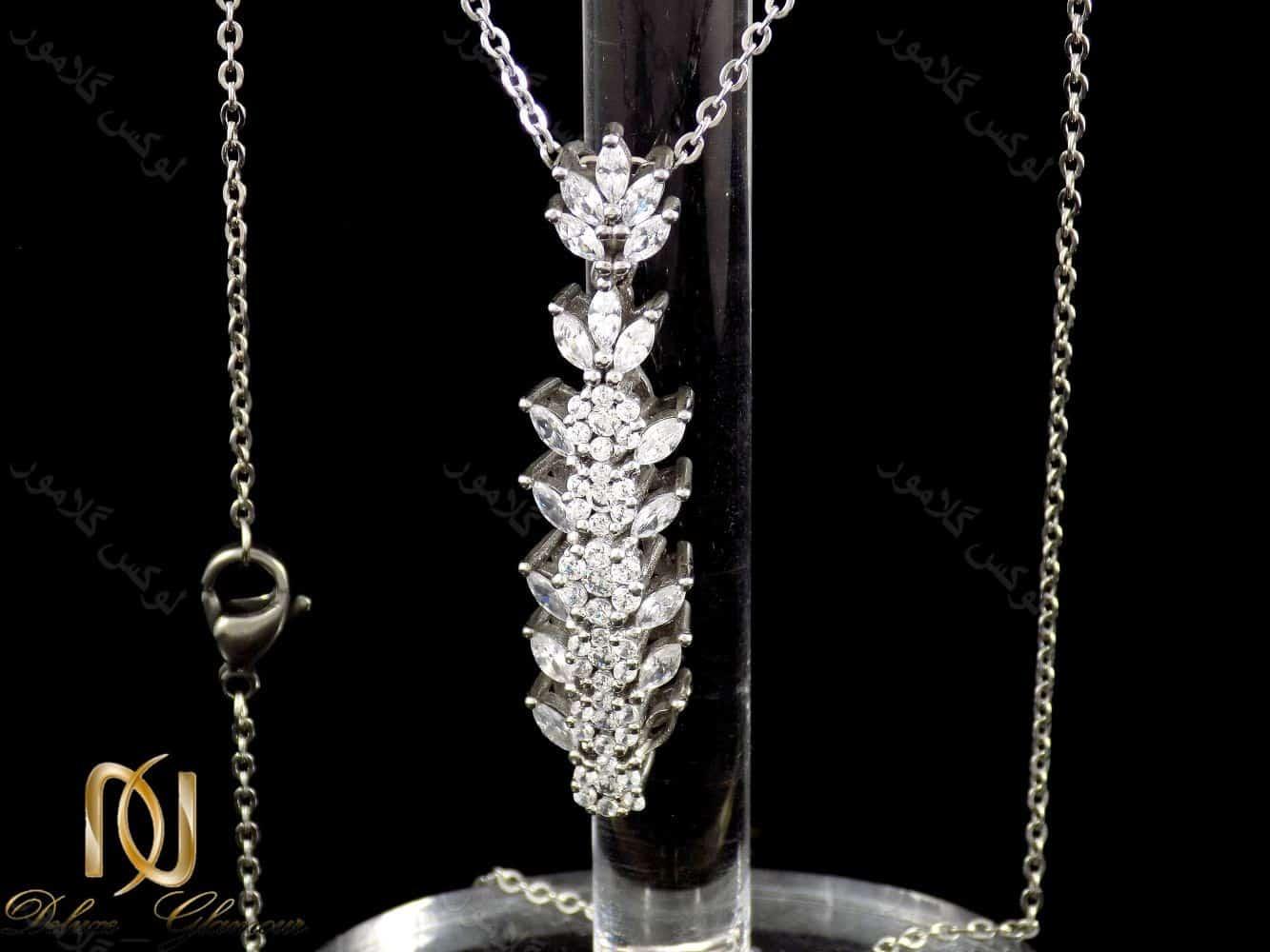 گردنبند نقره دخترانه با نگین های کریستالی سفید از نوع زیرکونیا nw-n168