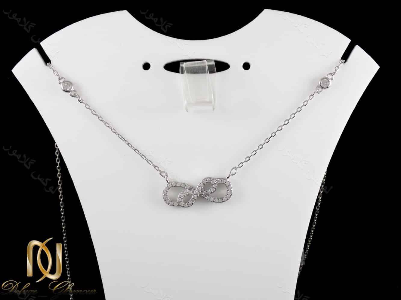 گردنبند نقره دخترانه طرح بی نهایت با نگین های کریستالی زیرکونیا nw-n169