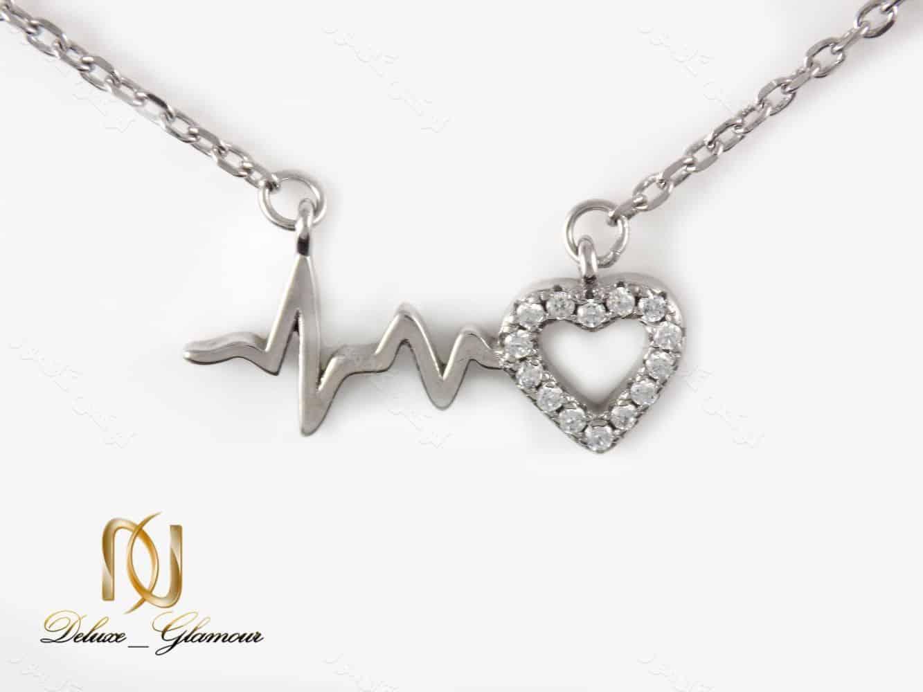 گردنبند نقره دخترانه طرح ضربان و قلب نگین دار nw-n162 از نمای روبرو