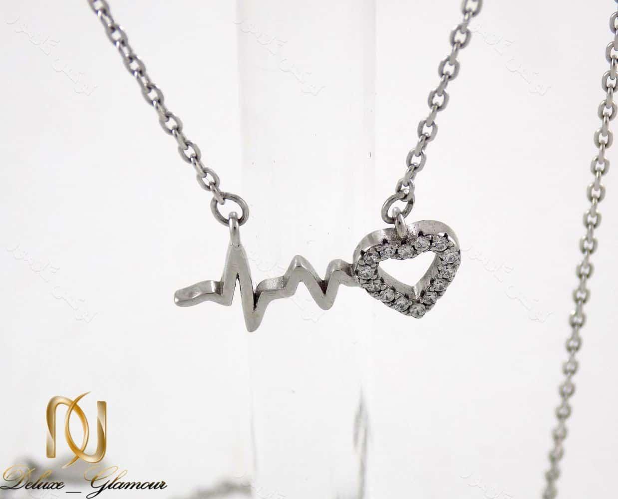 گردنبند نقره دخترانه طرح ضربان و قلب نگین دار nw-n162