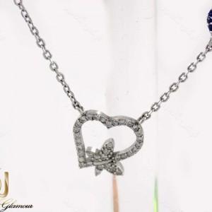 گردنبند نقره دخترانه طرح قلب و پروانه با نگین های سفید زیرکونیا nw-n161 از نمای استند