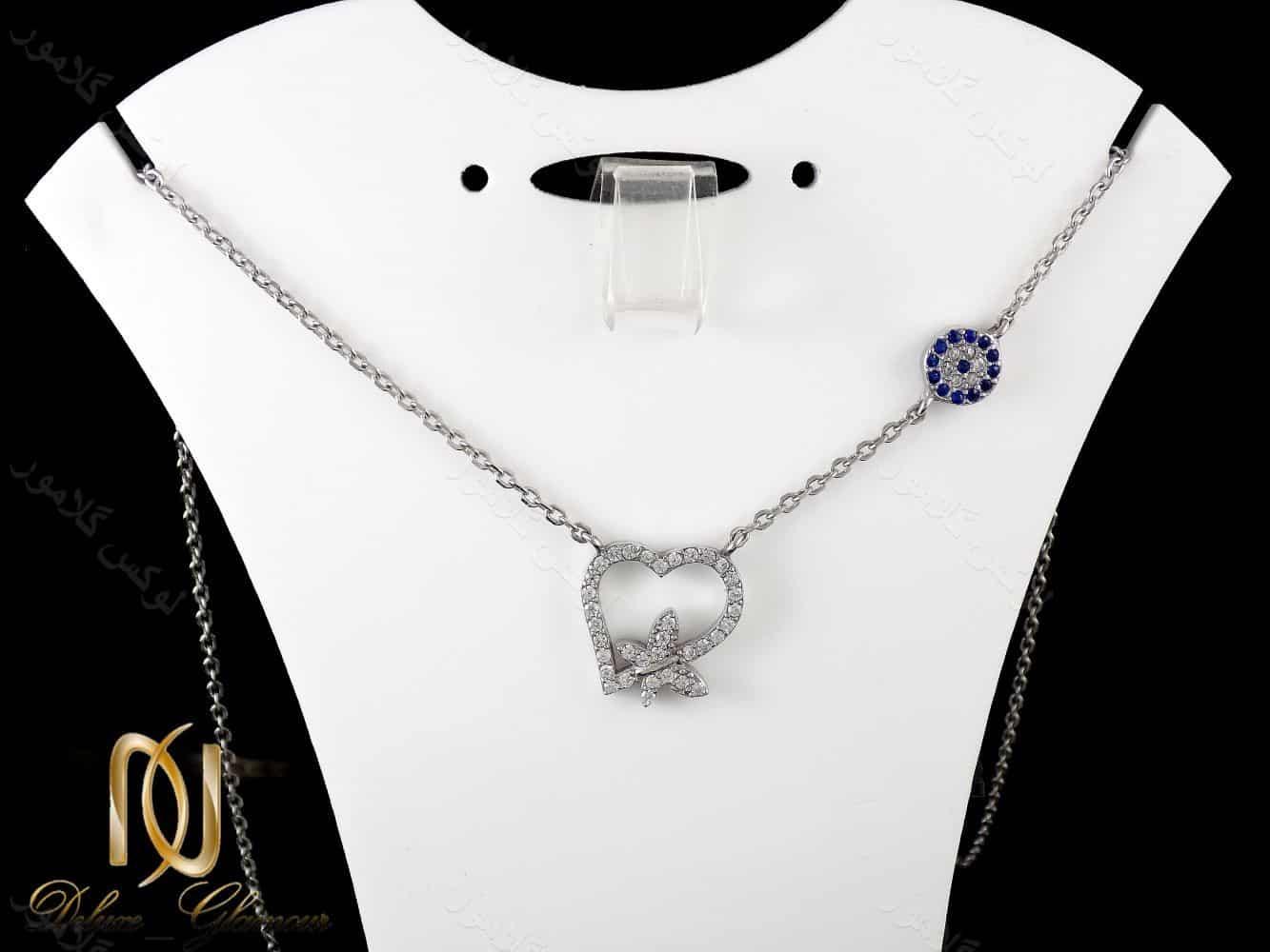 گردنبند نقره دخترانه طرح قلب و پروانه با نگین های سفید زیرکونیا nw-n161