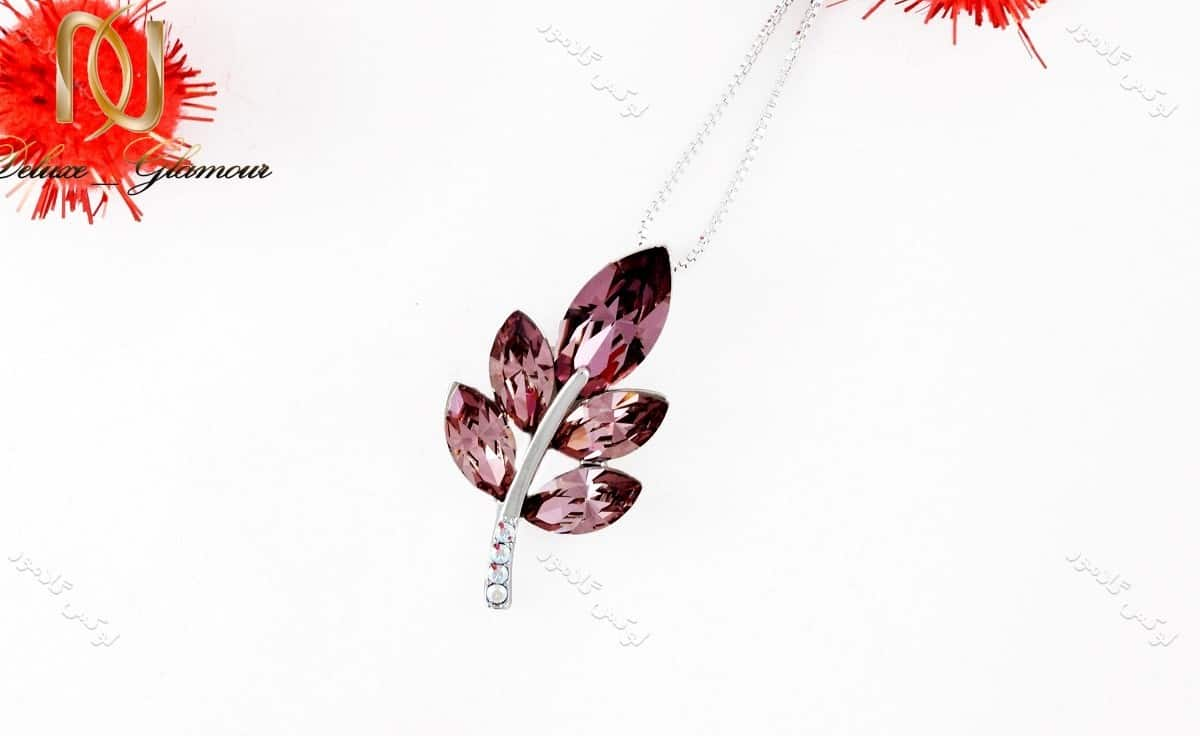 گردنبند دخترانه طرح خوشه با کریستالهای سواروفسکی تم بنفش Nw-n156 عکس اصلی