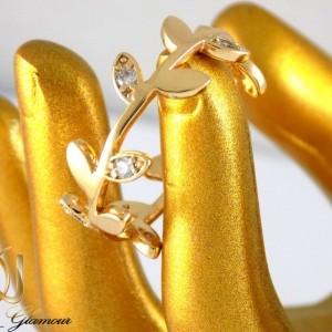 انگشتر دخترانه ژوپینگ با طرح برگ و روکش آب طلا dl-s122 از نمای نزدیک