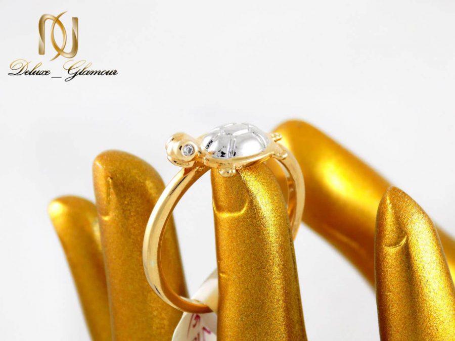 انگشتر دخترانه ژوپینگ با طرح لاک پشت دو رنگ dl-s125 از نمای کنار