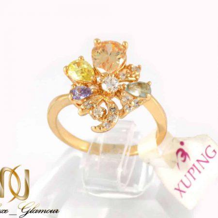 انگشتر دخترانه ژوپینگ با نگین های رنگی و روکش آب طلا dl-s123 از نمای بالا