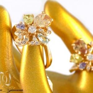 انگشتر دخترانه ژوپینگ با نگین های رنگی و روکش آب طلا dl-s123 از نمای نزدیک