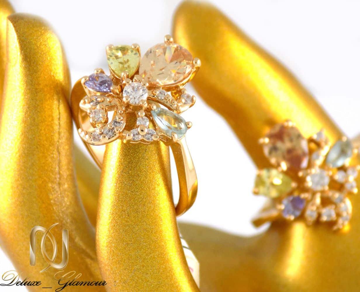 انگشتر دخترانه ژوپینگ با نگین های رنگی و روکش آب طلا dl-s123