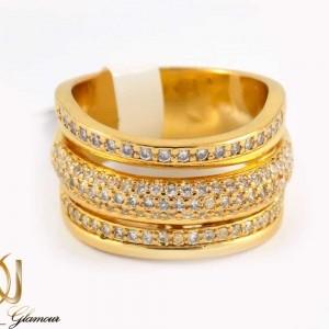 انگشتر زنانه استیل سه رج با روکش آب طلای 18 عیار RG-N173 از نمای نزدیک