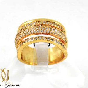 انگشتر زنانه استیل سه رج با روکش آب طلای 18 عیار RG-N173 از نمای روبرو