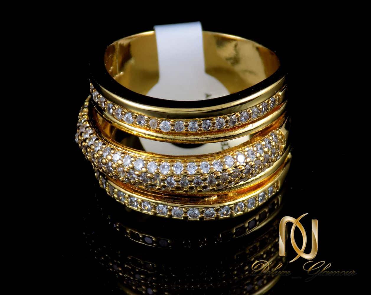 انگشتر زنانه استیل سه رج با روکش آب طلای 18 عیار RG-N173 از نمای پایین