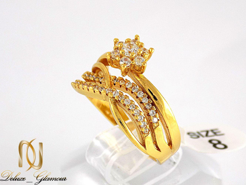 انگشتر زنانه استیل طرح تک نگین با روکش آب طلای 18 عیار RG-N174 از نمای کنار