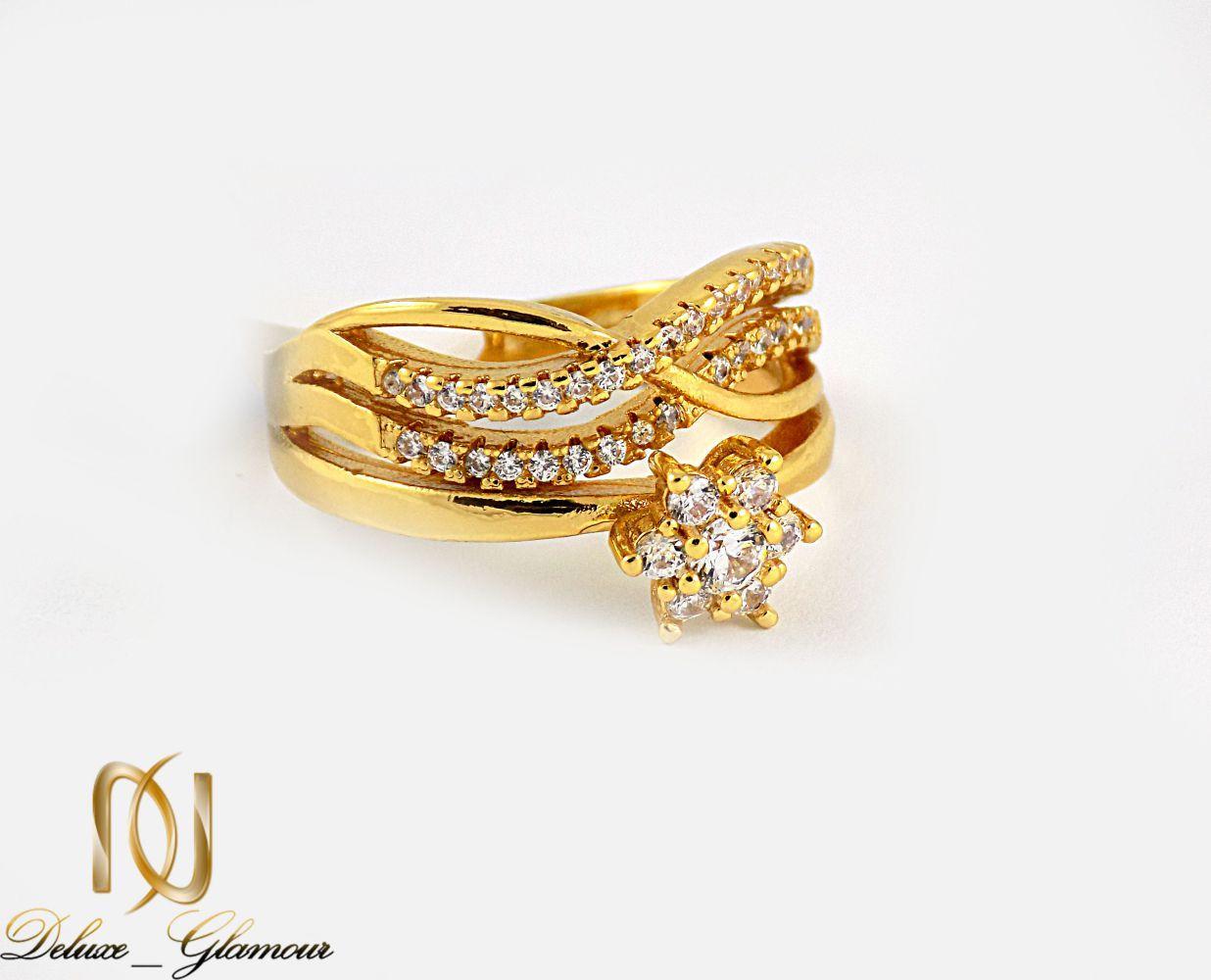 انگشتر زنانه استیل طرح تک نگین با روکش آب طلای 18 عیار RG-N174 از نمای پایین