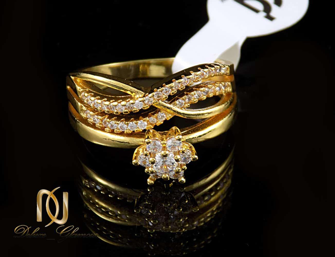 انگشتر زنانه استیل طرح تک نگین با روکش آب طلای 18 عیار RG-N174 از نمای نزدیک