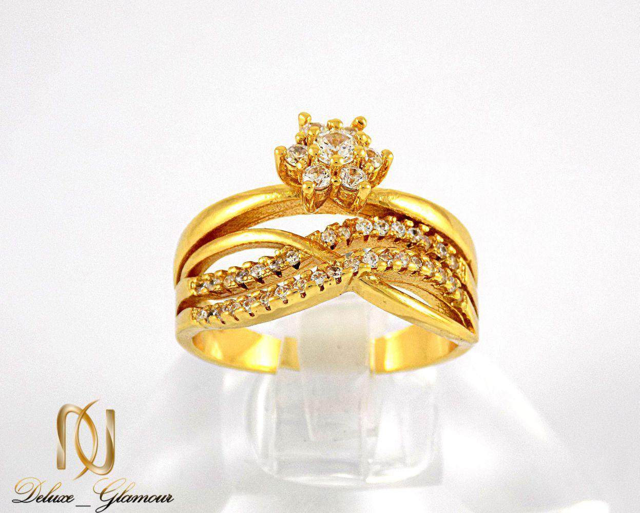 انگشتر زنانه استیل طرح تک نگین با روکش آب طلای 18 عیار RG-N174 از نمای روبرو