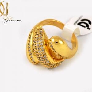 انگشتر زنانه استیل طرح طلا با روکش آب طلای 18 عیار RG-N177 از نمای پایین