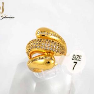 انگشتر زنانه استیل طرح طلا با روکش آب طلای 18 عیار RG-N177 از نمای روبرو