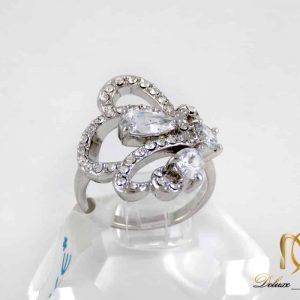 انگشتر زنانه استیل طرخ جواهر TOKE با نگین های زیرکونیا RG-N176 از نمای بالا
