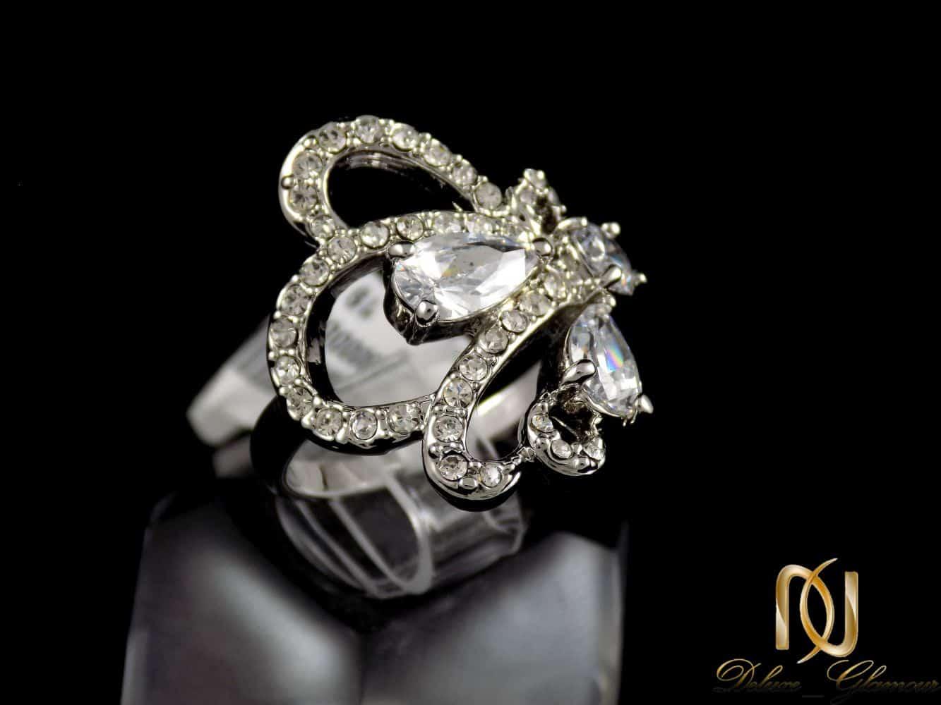 انگشتر زنانه استیل طرخ جواهر TOKE با نگین های زیرکونیا RG-N176 از نمای پایین