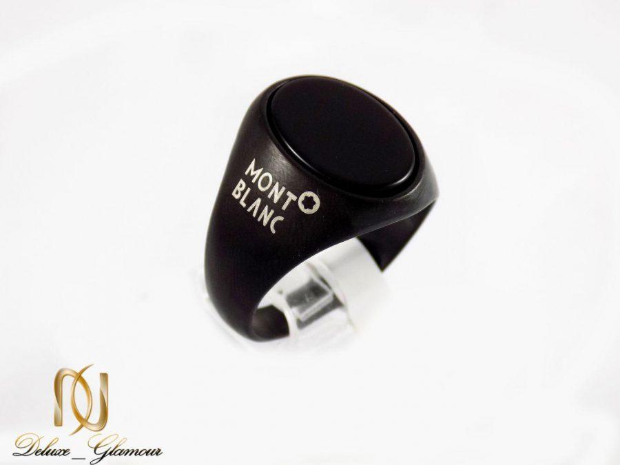 انگشتر مردانه استیل رنگ مشکی طرح مونت بلانک dl-s121 از نمای روبرو