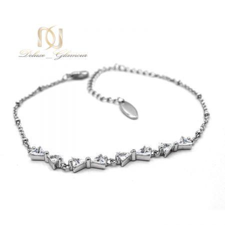 دستبند دخترانه طرح پاپیون با کریستالهای سواروفسکی Ds-n164 از نمای سفید