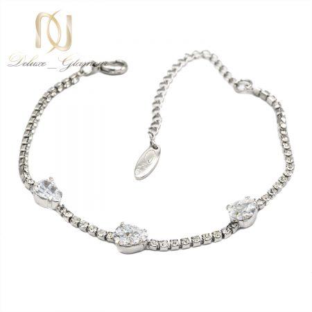 دستبند جواهری دخترانه کریستالهای سواروفسکی Ds-n161 از نمای سفید