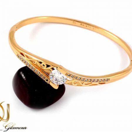 دستبند دخترانه ژوپینگ با قطر 60 میلی و نگین های زیرکونیا ds-n162 از نمای روبرو