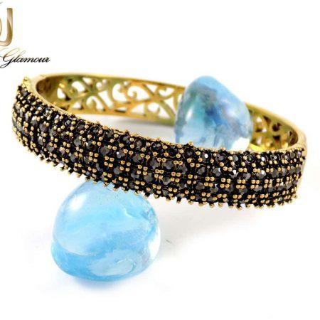 دستبند زنانه طرح طلای استیل نگین مارکازیت با قطر 57 میلی متری DS-N165 از نمای روبرو