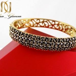 دستبند زنانه طرح طلای استیل نگین مارکازیت با قطر 57 میلی متری DS-N165 از نمای بالا