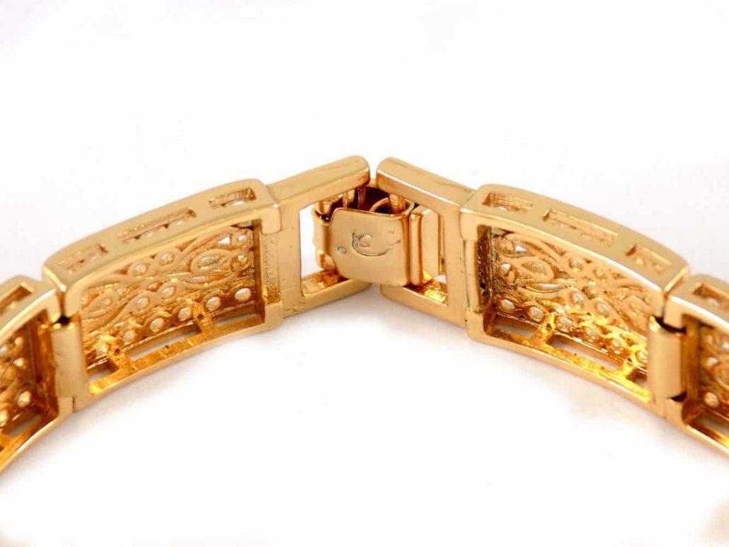 دستبند زنانه طرح طلای ژوپینگ با قفل جعبه ای ds-n20 از نمای داخل