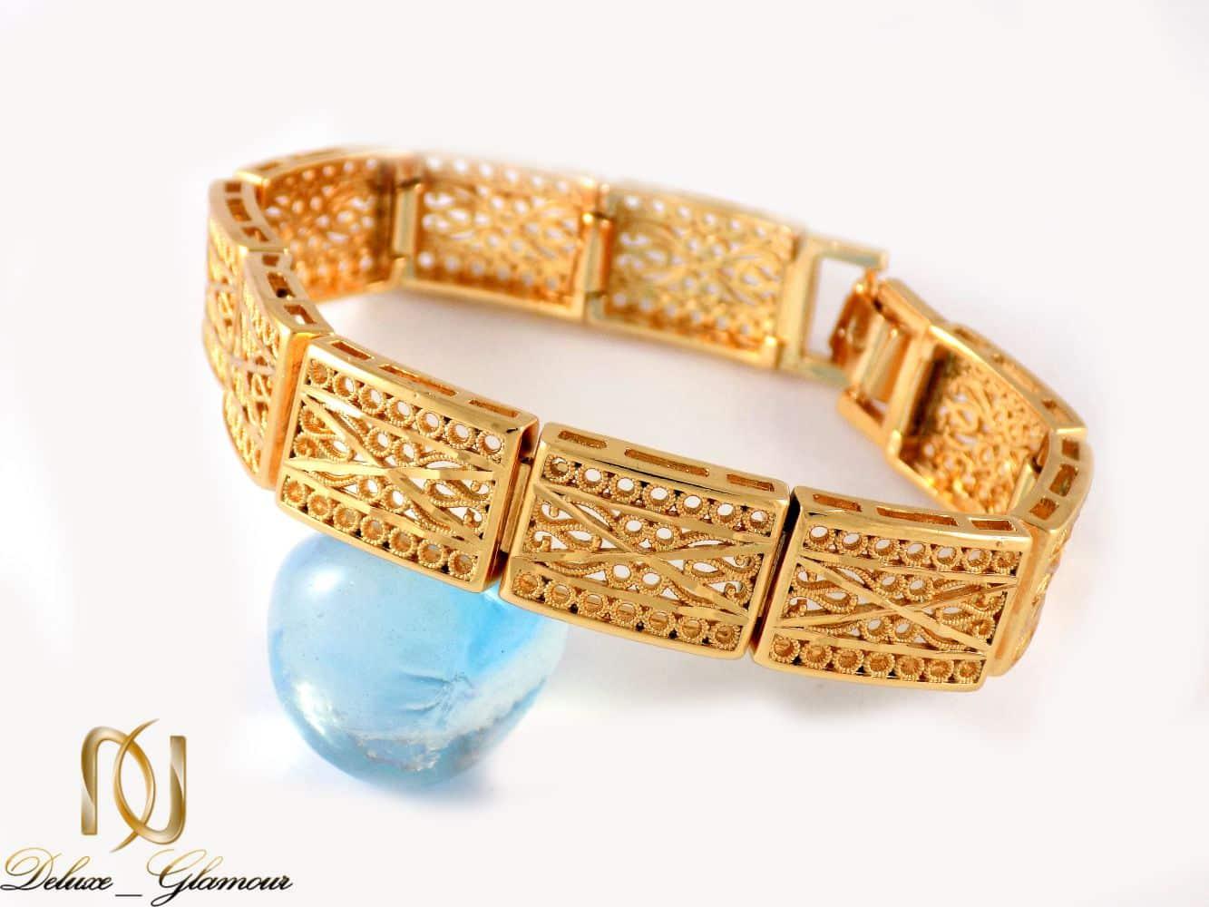 دستبند زنانه طرح طلای ژوپینگ با قفل جعبه ای ds-n20 از نمای روبرو
