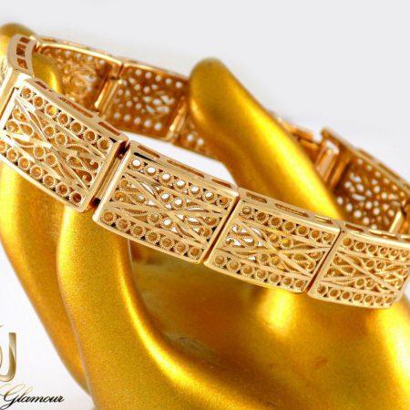 دستبند زنانه طرح طلای ژوپینگ با قفل جعبه ای ds-n20 از نمای نزدیک