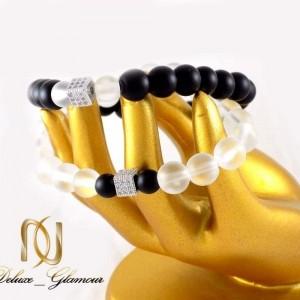 دستبند ست دخترانه و پسرانه سنگ اونيكس با مهره استیل ah-d106 از نمای دور