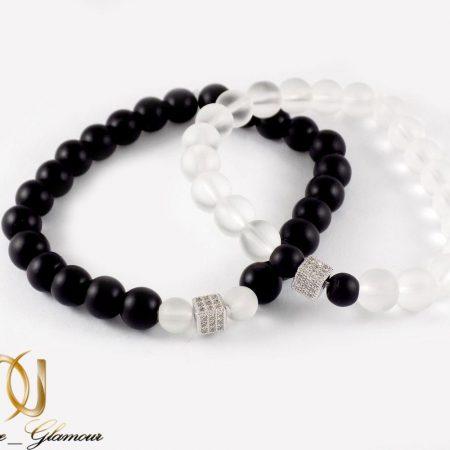 دستبند ست دخترانه و پسرانه سنگ اونيكس با مهره استیل ah-d106 از نمای بالا