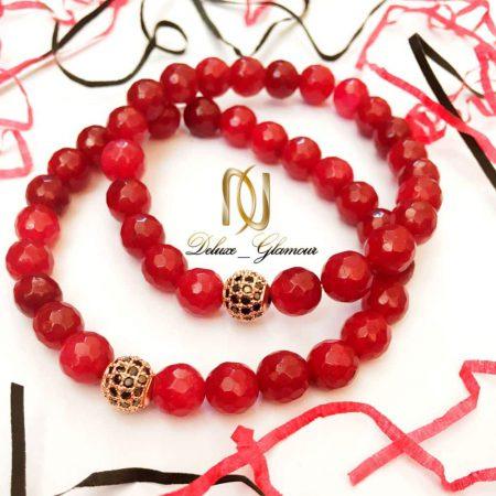 دستبند ست دخترانه و پسرانه سنگ جيد قرمز DS-N158 از نمای نزدیک