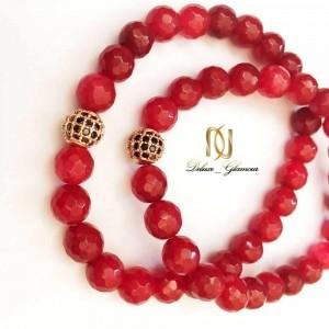 دستبند ست دخترانه و پسرانه سنگ جيد قرمز DS-N158 از نمای کنار