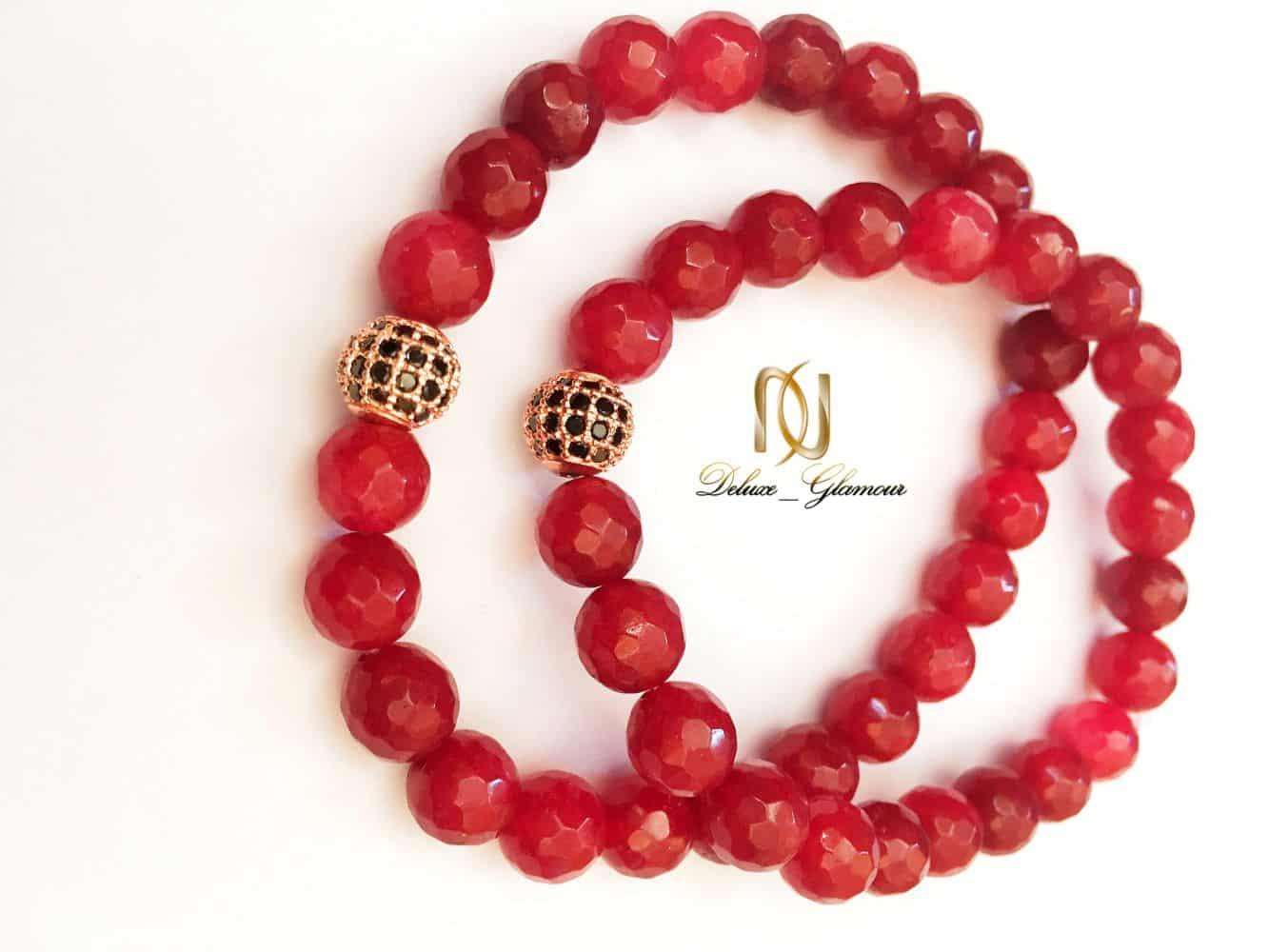دستبند ست دخترانه و پسرانه سنگ جيد قرمز DS-N158