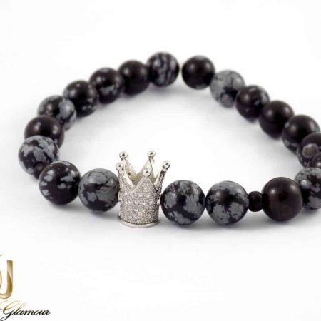 دستبند ست دخترانه و پسرانه سنگ عقیق صنعتی با مهره کینگ و کویین DS-N157 از نمای دستبند سفید