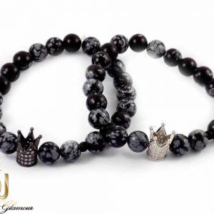 دستبند ست دخترانه و پسرانه سنگ عقیق صنعتی با مهره کینگ و کویین DS-N157 از نمای روبرو