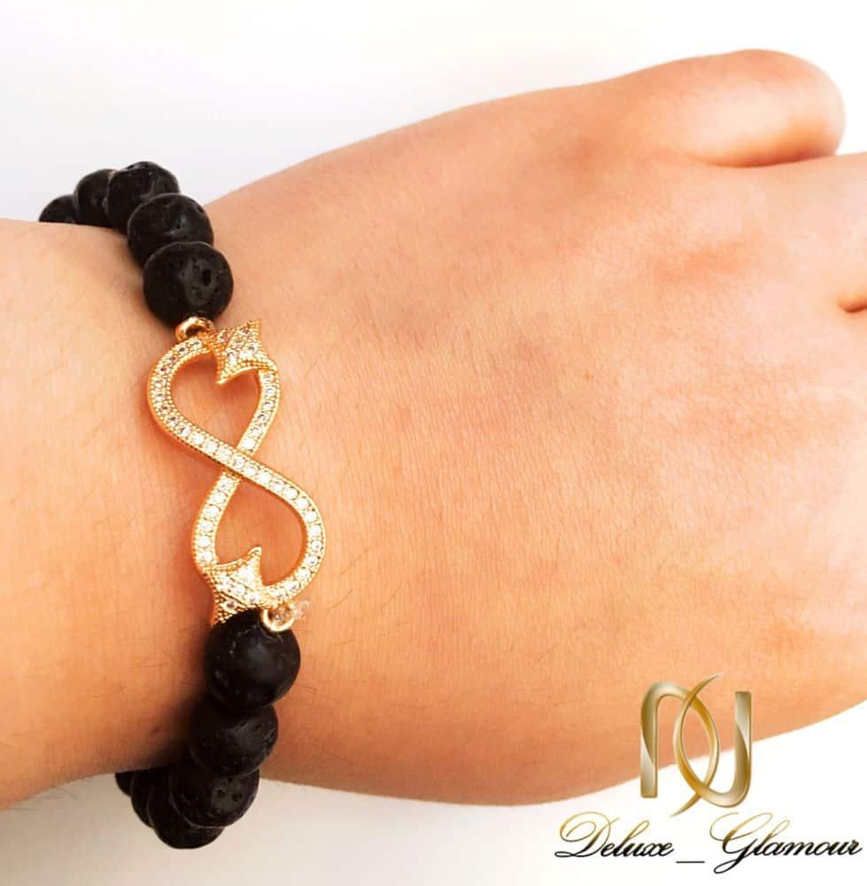 دستبند ست دخترانه و پسرانه سنگ لاوا طرح بی نهایت ds-n159