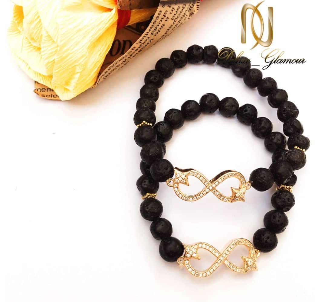 دستبند ست دخترانه و پسرانه سنگ لاوا طرح بی نهایت ds-n159 از نمای بالا