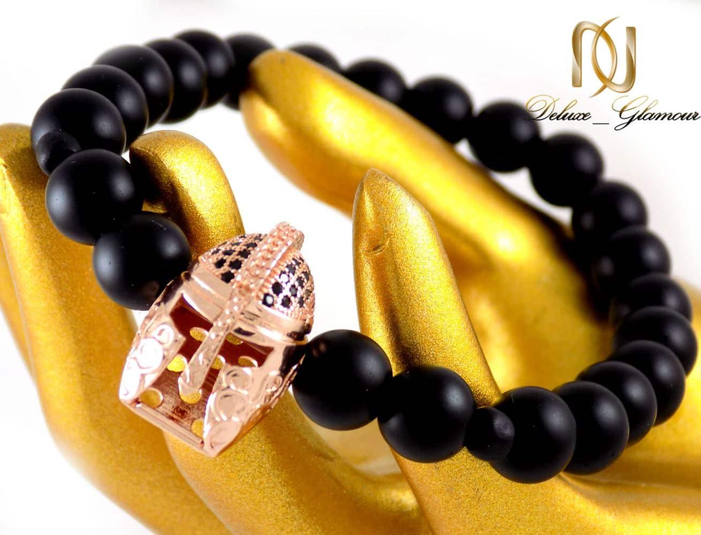 دستبند مردانه سنگ اونیکس مات با مهره استیل ah-d107