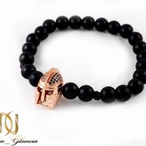 دستبند مردانه سنگ اونیکس مات با مهره استیل ah-d107 از نمای دور