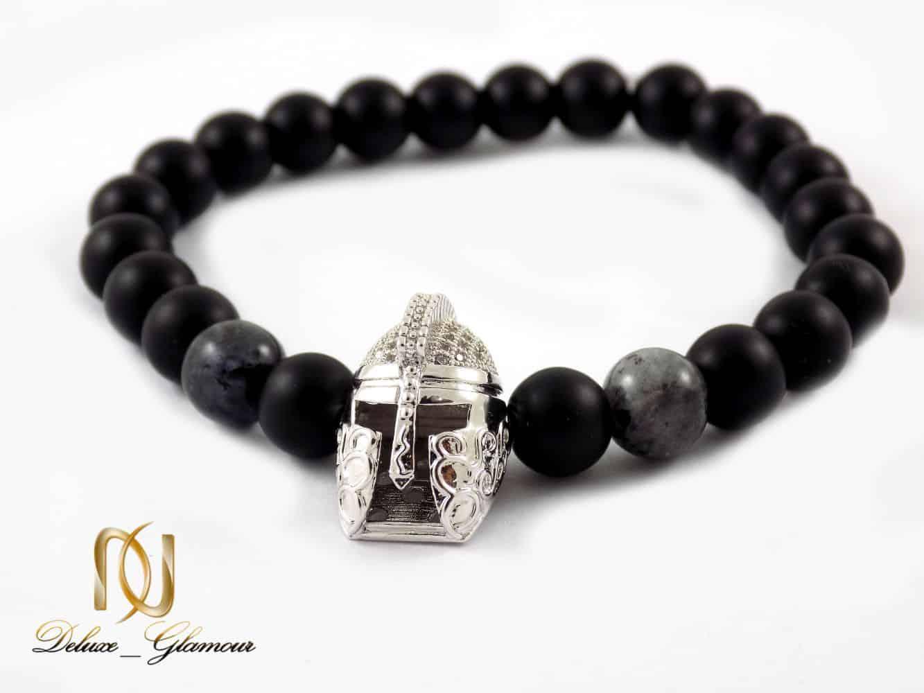 دستبند مردانه سنگ اونیکس مات و عقیق صنعتی با مهره استیل ds-n207