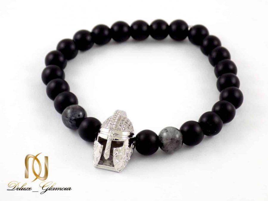دستبند مردانه سنگ اونیکس مات و عقیق صنعتی با مهره استیل ds-n207 از نمای بالا
