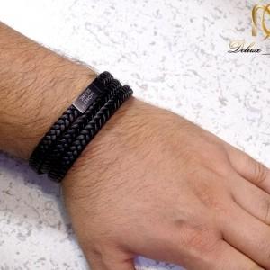 دستبند مردانه چرم سه لاینه طرح مونت بلانک با رویه استیل DS-N208 از نمای بالا