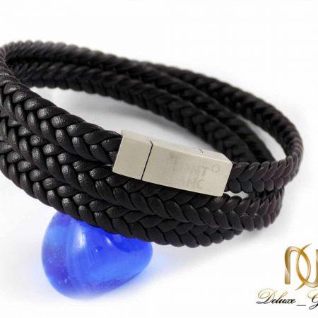 دستبند مردانه چرم سه لاینه طرح مونت بلانک با رویه استیل DS-N208