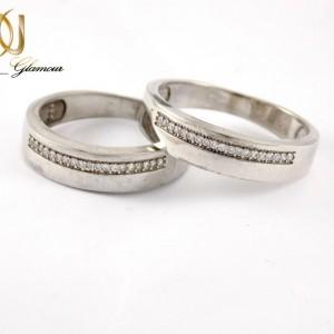 ست حلقه نقره تایلندی عیار 925 با نگین های کریستالی زیرکونیا dl-s115 از زمینه سفید